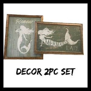 *Mermaid 2Pc Wall Art Set NIB